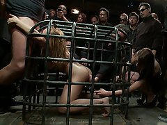 Caged gangbang