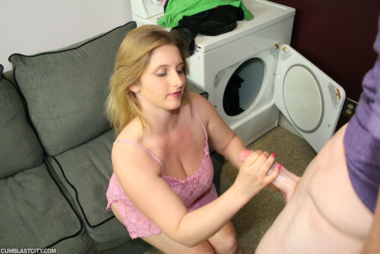 Chubby woman handjob dick and facial